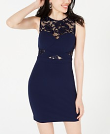 B Darlin Juniors' Lace-Cutout Bodycon Dress, Created for Macy's
