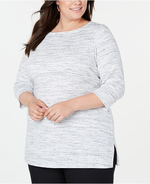 Karen Scott Plus Size Space-Dye 3/4-Sleeve Top, Created for Macy's