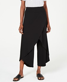 Eileen Fisher Tencel Faux-Wrap Wide-Leg Pants