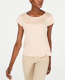 Eileen Fisher Cap-Sleeve Tencel T-Shirt, Regular & Petite