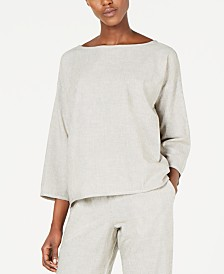 Eileen Fisher Organic Cotton Bateau-Neck 3/4-Sleeve Top