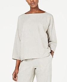 Eileen Fisher Organic Cotton Bateau-Neck 3/4-Sleeve Top