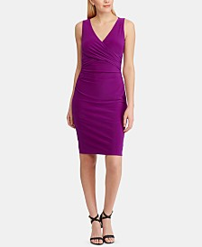Lauren Ralph Lauren Petite Ruched Sleeveless Jersey Dress