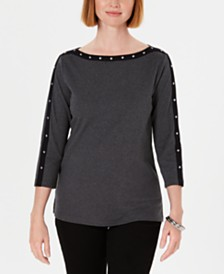 Karen Scott Petite Cotton Studded Boat-Neck Top, Created for Macy's
