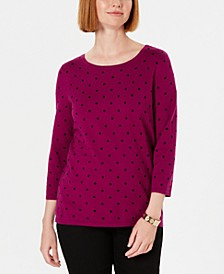 Petite Printed 3/4-Sleeve Sweater, Created For Macy's