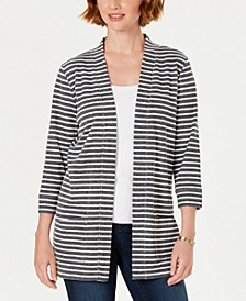 Petite Striped Textured Jacket, Created for Macy's