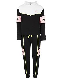 Puma Big Girls Colorblocked Pullover Hoodie & Jogger Pants Separates
