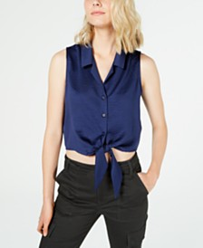 Love Fire Juniors' Tie-Waist Button-Front Cropped Tank Top