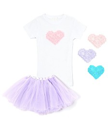 Interchangeable 3D Heart Top and Lavender Tutu Skirt