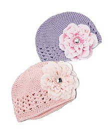 One Size Girls Crochet Flower Beanie Hat Set Of 2