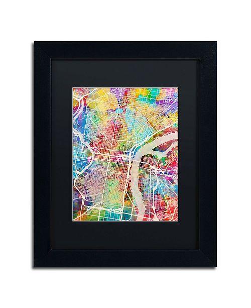 """Trademark Global Michael Tompsett 'Philadelphia Street Map' Matted Framed Art - 11"""" x 14"""""""
