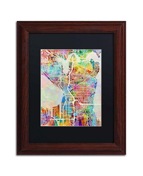 "Trademark Global Michael Tompsett 'Seattle Washington Street Map' Matted Framed Art - 11"" x 14"""