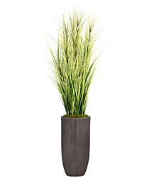 "74.25"" Tall Onion Grass Artificial Faux Decorative with Twigs in Resin Planter"