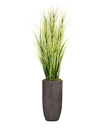 """Laura Ashley 74.25"""" Tall Onion Grass Artificial Faux Decorative with Twigs in Resin Planter"""