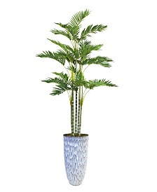 "Laura Ashley 87.5"" Tall Palm Tree Artificial Faux decor in Resin Planter"