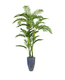 "Laura Ashley 93.5"" Tall Palm Tree Artificial Faux decor in Resin Planter"
