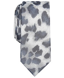 I.N.C. Men's Skinny Persian Leopard-Print Tie, Created for Macy's