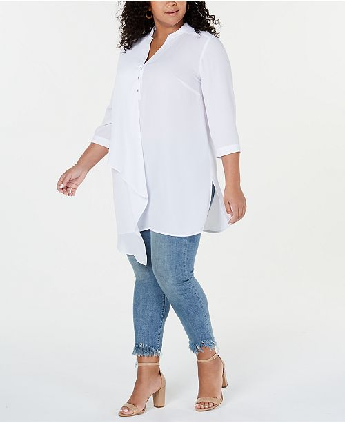 NY Collection Plus Size Asymmetrical Tunic Top