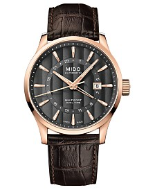 Mido Men's Swiss Automatic Multifort Dual Time Brown Leather Strap Watch 42mm