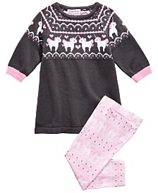 Blueberi Boulevard Baby Girls 2-Pc. Unicorn Sweater & Printed Leggings