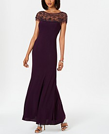 Beaded-Trim A-Line Gown