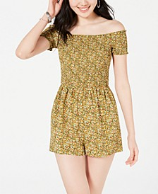 Juniors' Smocked Off-The-Shoulder Romper, Created for Macy's