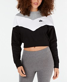 Nike Colorblocked Fleece Cropped Sweatshirt