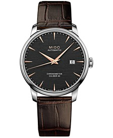 Men's Swiss Automatic Baroncelli Brown Leather Strap Watch 40mm