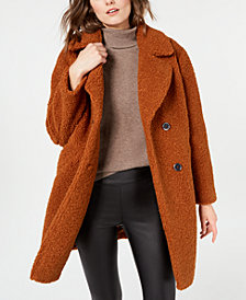 Kenneth Cole Double-Breasted  Faux-Fur Teddy Coat