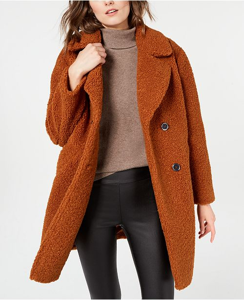 Kenneth Cole Kenneth Cole Double-Breasted  Faux-Fur Teddy Coat