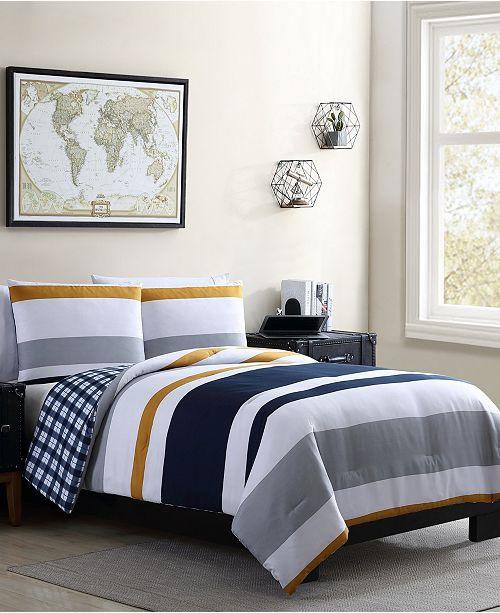VCNY Home Indigo 3 Piece Full/Queen Comforter Set