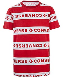 Converse Big Boys Wordmark Stripe Logo T-Shirt
