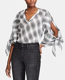 Plaid-Print Tie-Sleeve Crinkled Cotton Top