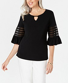 Petite Illusion-Sleeve Keyhole Top, Created for Macy's
