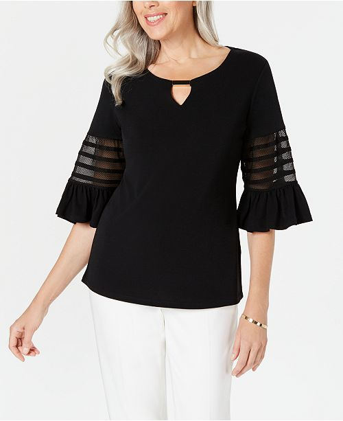 JM Collection Petite Illusion-Sleeve Keyhole Top, Created for Macy's
