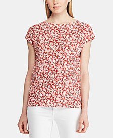 Floral-Print Dolman-Sleeve Cotton Top