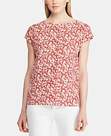 Lauren Ralph Lauren Floral-Print Dolman-Sleeve Cotton Top