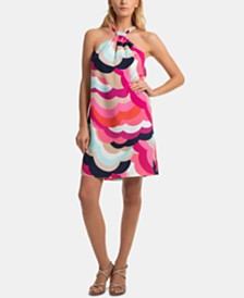 Trina Trina Turk Printed Halter-Neck Shift Dress