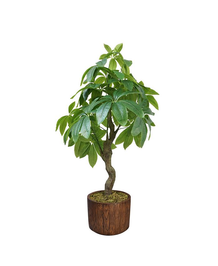 """Vintage Home - Artificial Faux Real Touch 53""""  Tall Pachira Aquatica Real Touch And Fiberstone Planter"""