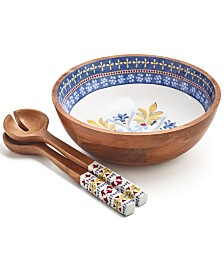 Martha Stewart Collection La Dolce Vita Wood & Enamel 3-Pc. Salad Set, Created for Macy's