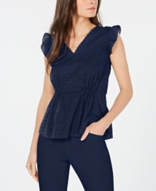 Anne Klein Cotton Flutter-Sleeve Top