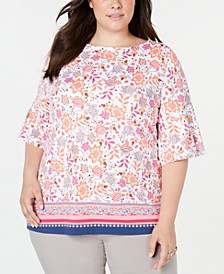 Plus Size Printed Bell-Sleeve Top, Created for Macy's
