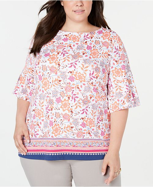 Charter Club Plus Size Printed Bell-Sleeve Top, Created for Macy's