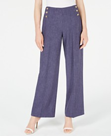 Anne Klein Stretch-Denim Wide-Leg Pants