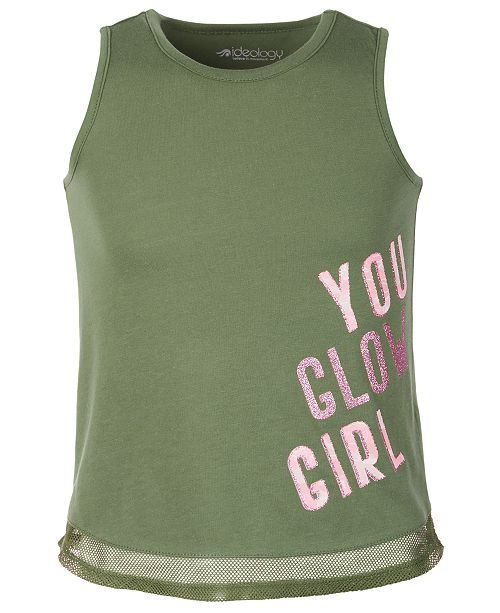 Ideology Little Girls Mesh-Trimmed Graphic Tank Top, Created for Macy's