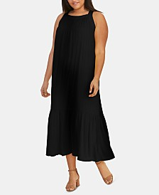 RACHEL Rachel Roy Trendy Plus Size Leo Flounce Maxi Dress