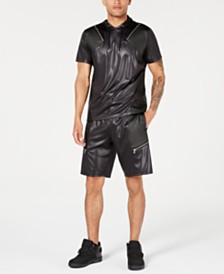 I.N.C. International Concepts Men's Scotty Faux Leather Short Sleeve Hoodie, Created for Macy's