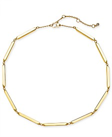 "kate spade new york Gold-Tone Bar Collar Necklace, 17"" + 3"" extender"