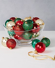 Christmas Cheer Set of 30 Shatterproof Red, Green and Gold Glitter Ornaments, Created for Macy's
