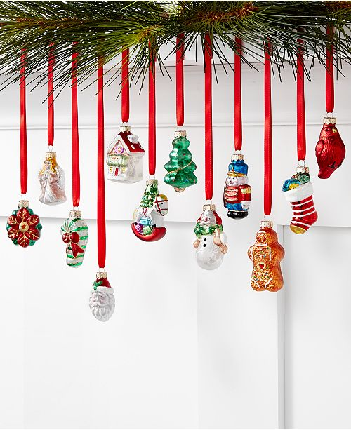 Christmas Cheer.Christmas Cheer Glass Mini Icon Ornaments Set Of 12 Created For Macy S